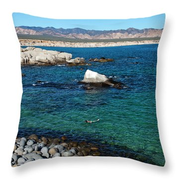 Two People Snorkel Through The Clear Throw Pillow