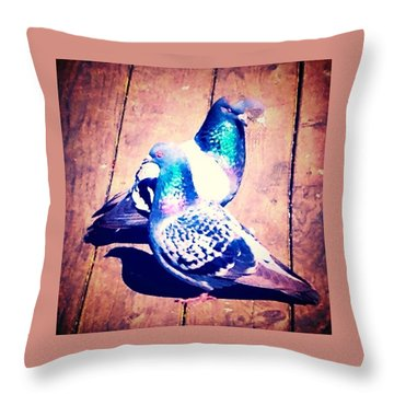 Two Pigeons And A Ghost Throw Pillow