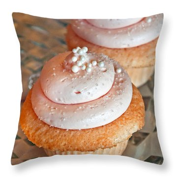 Two Pink Cupcakes Art Prints Throw Pillow