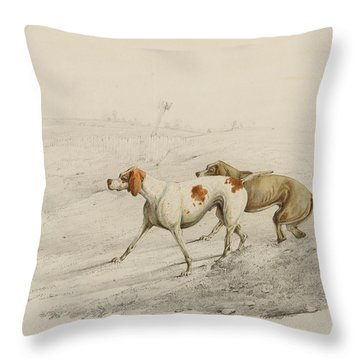 Two Pointers Throw Pillow by Henry Thomas Alken