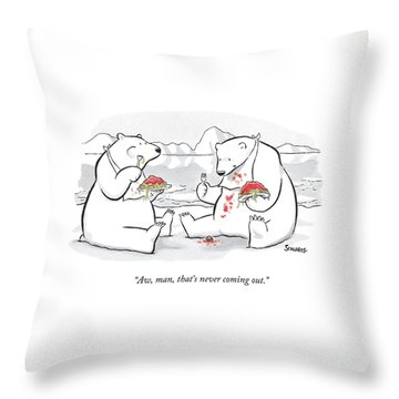 Two Polar Bears Eat Spaghetti And Meatballs.  One Throw Pillow