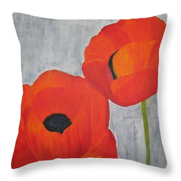 Two Poppies And Old Denim Throw Pillow