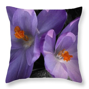 Two Purple Crocuses Throw Pillow