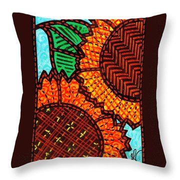 Two Quilted Sunflowers Throw Pillow by Jim Harris