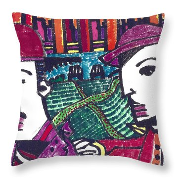 Two Rabbis In Miami Throw Pillow