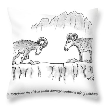 Two Rams Talk To Each Other Throw Pillow