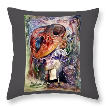 Throw Pillow featuring the painting Two Realities by Mikhail Savchenko
