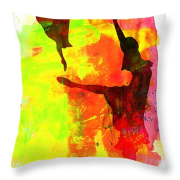 Two Red Ballerinas Watercolor  Throw Pillow by Naxart Studio