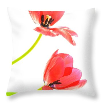 Two Red Transparent Flowers Throw Pillow