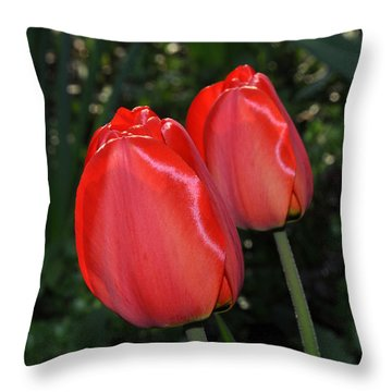 Two Red Tulips Throw Pillow by Diane Lent