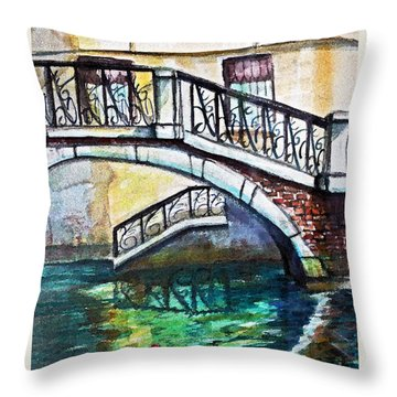 Throw Pillow featuring the painting Two Roses Floating by Rita Brown