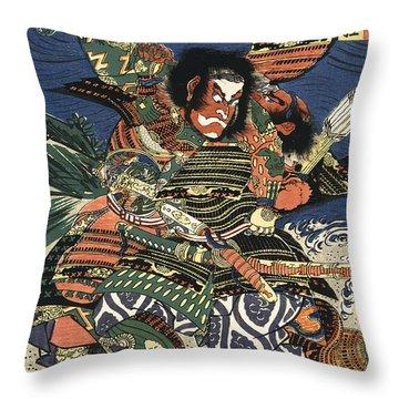 Two Samurai Fighting C. 1819 Throw Pillow