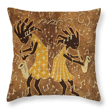Two Sax Players Throw Pillow by Katherine Young-Beck