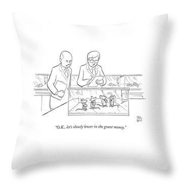 Two Scientists In Lab Coats Observe A Group Throw Pillow