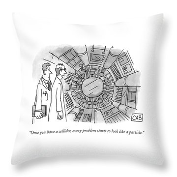 Two Scientists Look At A Complicated-looking Throw Pillow