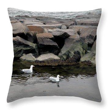 Two Seagulls Throw Pillow