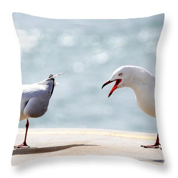 Two Seagulls Throw Pillow