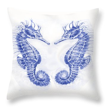 Two Seahorses- Blue Throw Pillow by Jane Schnetlage