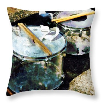 Two Snare Drums Throw Pillow by Susan Savad