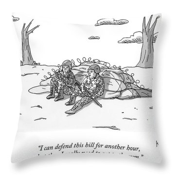 Two Soldiers Talk While Hidden Behind A Bunker Throw Pillow