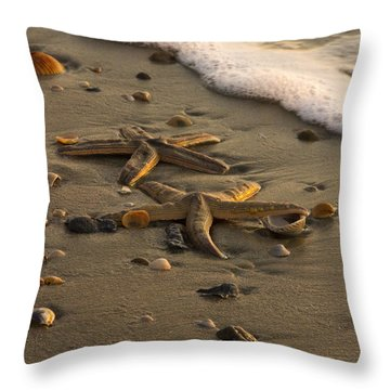 Two Stars Throw Pillow by Carrie Cranwill