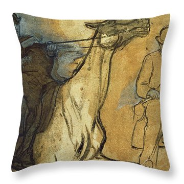 Two Studies Of Riders Throw Pillow