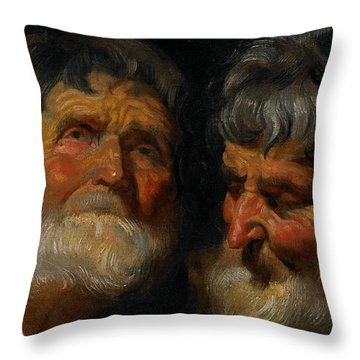 Two Studies Of The Head Of An Old Man Throw Pillow by Jacob Jordaens