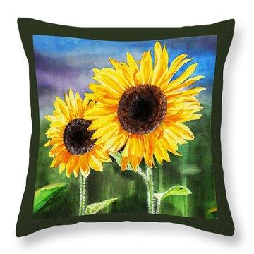 Throw Pillow featuring the painting Two Sunflowers by Irina Sztukowski