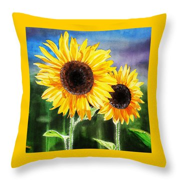 Two Suns Sunflowers Throw Pillow