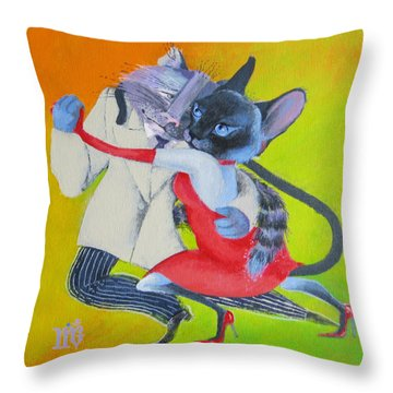Two To Cats' Tango Throw Pillow by Marina Gnetetsky