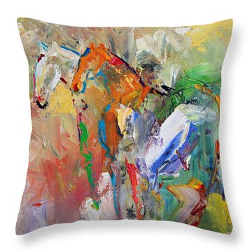 Two Together Horse 29 2014 Throw Pillow