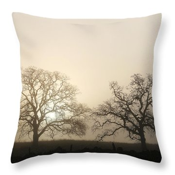 Two Trees In Fog Throw Pillow