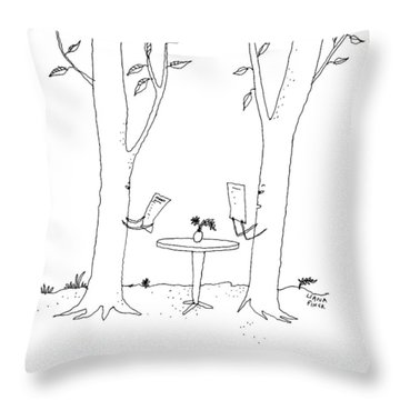 Two Trees Look At Restaurant Menus Throw Pillow