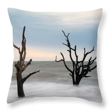 Two Trees On The Beach Throw Pillow by Serge Skiba