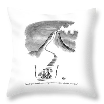 Two Tribesmen With Feather Headdresses Sit Throw Pillow