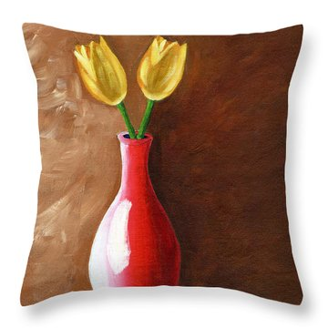 Throw Pillow featuring the painting Two Tulips And A Pink Rose by Laura Forde