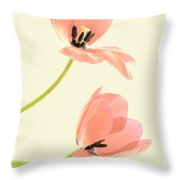 Two Tulips In Pink Transparency Throw Pillow