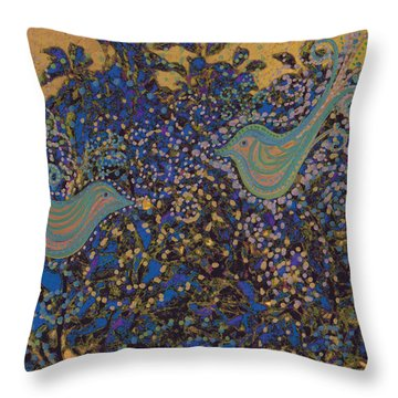 Two Turtle Doves In A Pear Tree Throw Pillow by First Star Art