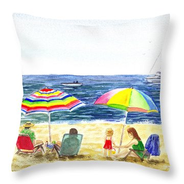 Two Umbrellas On The Beach California  Throw Pillow