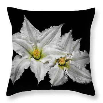 Two White Clematis Flowers On Black Throw Pillow