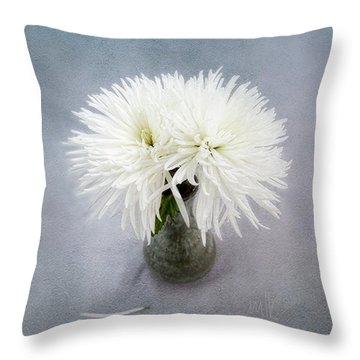 Two White Mums In Green Vase Still Life Throw Pillow by Louise Kumpf