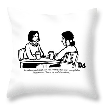 Two Women Are Seen Sitting And Speaking With Each Throw Pillow