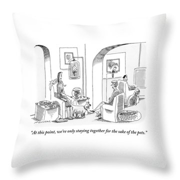 Two Women Are Seen Talking In Reference To A Man Throw Pillow