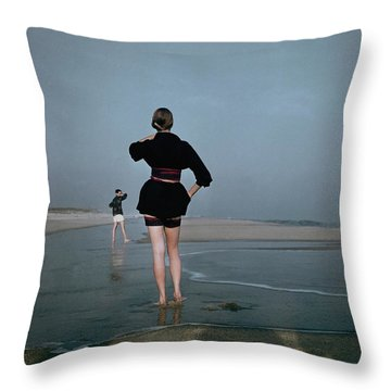 People On Beach Throw Pillows