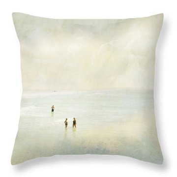 Two Women One Man Throw Pillow