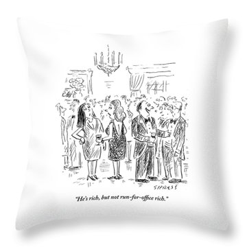 Two Women Talk About A Nearby Man At A Cocktail Throw Pillow