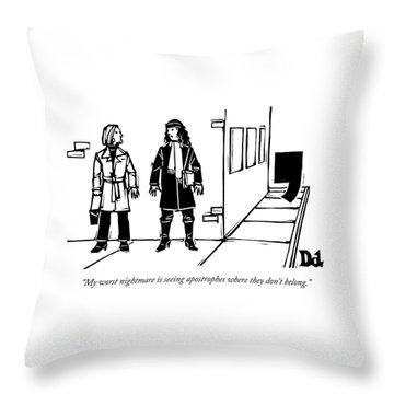 Two Women Talk On The Sidewalk While An Throw Pillow