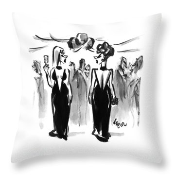 Two Women Wearing The Same Dress At A Cocktail Throw Pillow