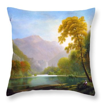 Two Woodcutters Throw Pillow