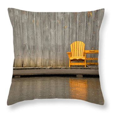 Two Wooden Chairs On An Old Dock Throw Pillow